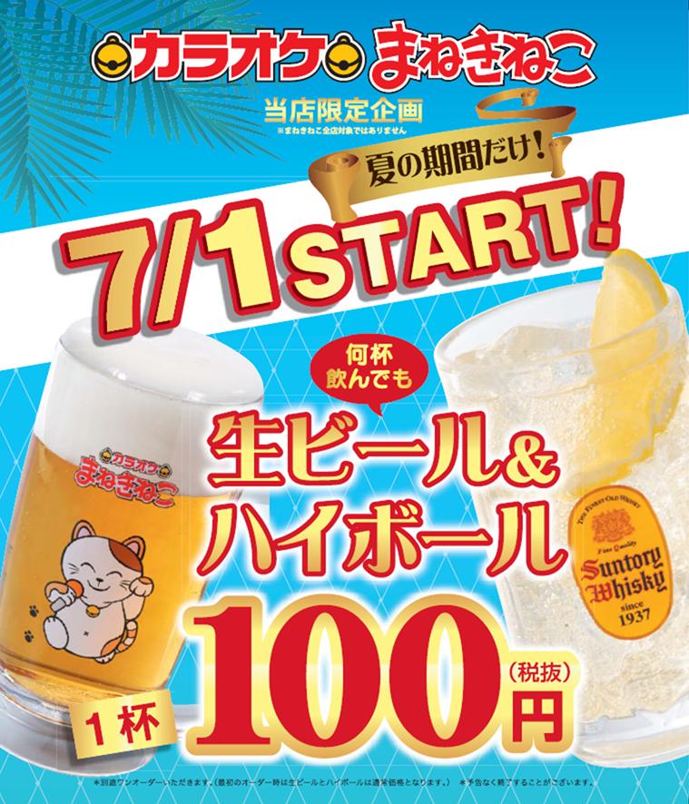 カラオケまねきねこの☆超お得な限定企画☆生ビール・ハイボール100円!!のキャンペーン・フェアの詳細