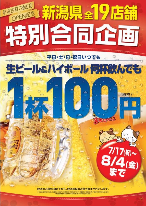 カラオケまねきねこの【新潟県限定】生ビール&ハイボール 何杯飲んでも・・・ 1杯100円!のキャンペーン・フェアの詳細
