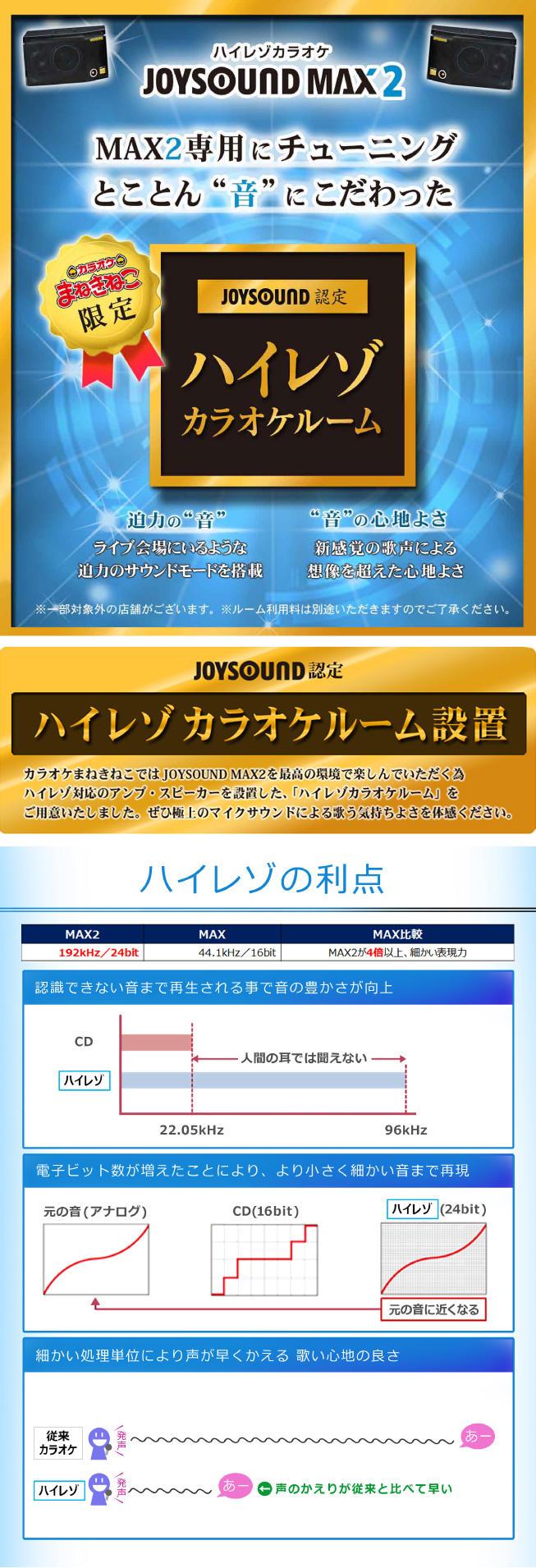カラオケまねきねこの【まねきねこ限定!】ハイレゾルーム始動!!のキャンペーン・フェアの詳細